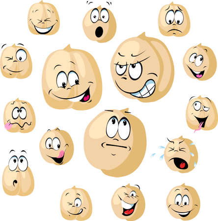 Chickpea Seeds Cartoon Vector Funny Illustration with many Facial Expressions