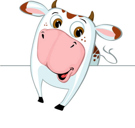 Cute Cow Peeking Out from Behind a White Surface - Vector Illustration Illustration