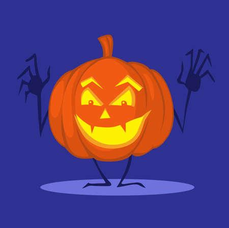 Halloween Pumpkin Cartoon Funny Illustration Shining on Dark Night Blue Background Illustration