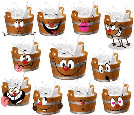 Bucket of Milk Cartoon - Vector Illustration Isolated
