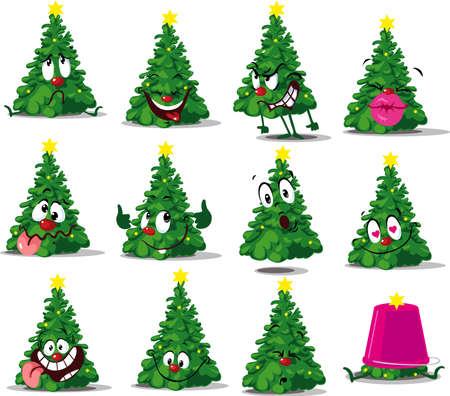 Christmas Tree Funny Vector Cartoon Sticker Vector Illustration Emoticon Illustration