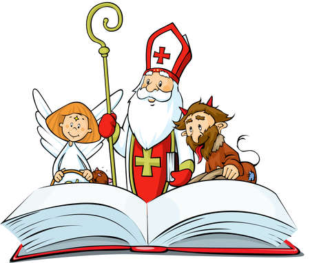 Saint Nicholas, devil and angel - vector illustration isolated on white background. Standing over the Book of Sins Illustration