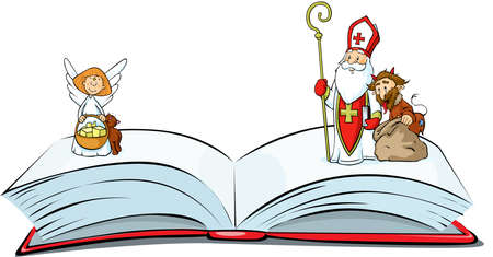 Book of sins is Open - Saint Nicholas, devil and angel Standing Over - Vector Illustration