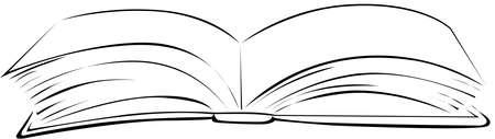 Open Book - Black Line Illustration Vector Sketch Illustration