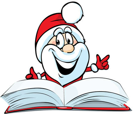Santa claus reading in Red Book - Funny vector Illustration