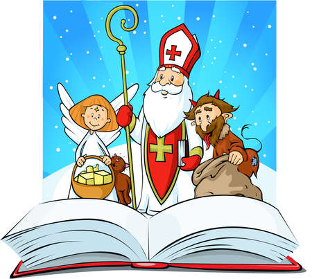Saint Nicholas, devil and angel - vector illustration - Standing over the Book of Sins