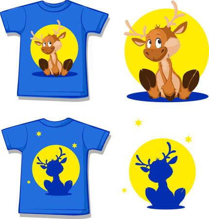 Cute Reindeer Character - Design Shirt - Vector Illustration