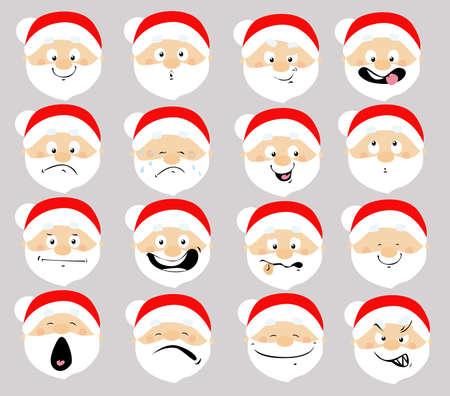 Santa Emoticon Icon Flat Design Cartoon Face Vector illustration Illustration