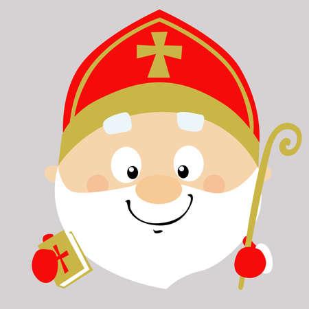 Saint Nicolas Simple Icon Vector Illustration Head Illustration