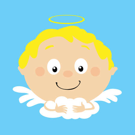 Angel in Heaven Icon Face Simple Vector Flat Design Illustration