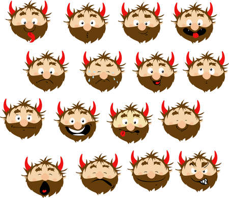 Devil Emoticon Icon with many Expressions - Vector Flat Designm Illustration Stickers Illustration