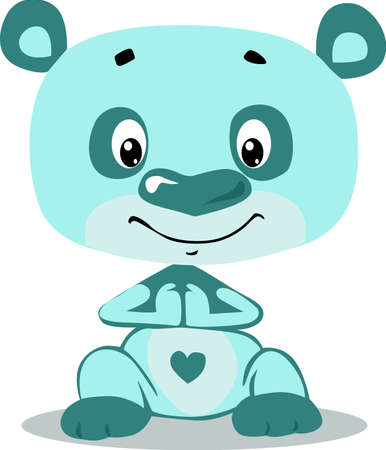 Cute turquoise teddy bear character on white