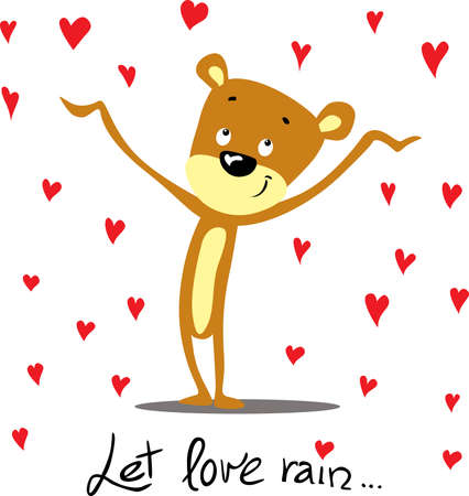 Cute valentine design with bear and raining hearts - Let Love Rain Illustration