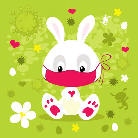 Virus Easter with Bunny and Face Mask - Vector Cartoon illustration Illustration