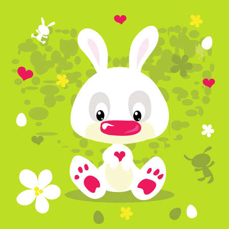 Happy Easter Spring Flat Design with Cute White Bunny - Vector illustration
