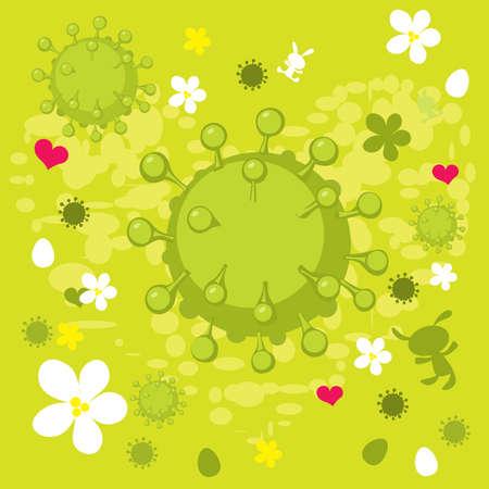 Spring Corona Virus Abstract Background - Vector Illustration Illustration