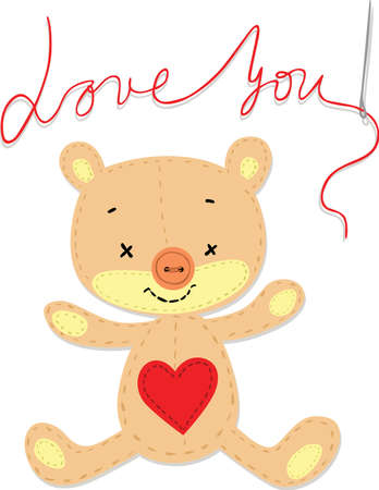 Valentine Card with Sewn Embroidered Teddy Bear - Love You - Vector Illustration on White Background Illustration