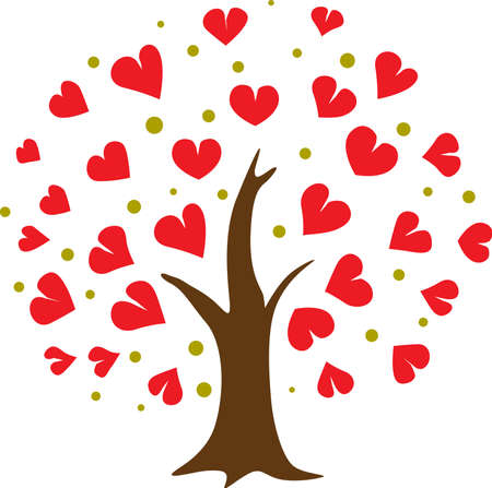 Heart Tree Icon Abstract Love illustration Isolated on White Background