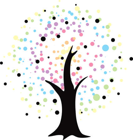 Tree Illustration Abstract Vector Design Isolated on White Background