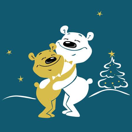 Cute bears Hugging - Christmas Winter Vector Illustration with Xmas Tree