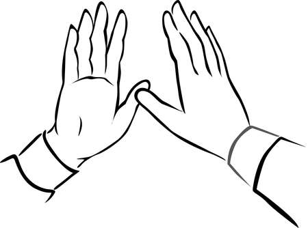 Hand Black and white Drawing Illustration - Give me Five - Vector Isolated on White Illustration