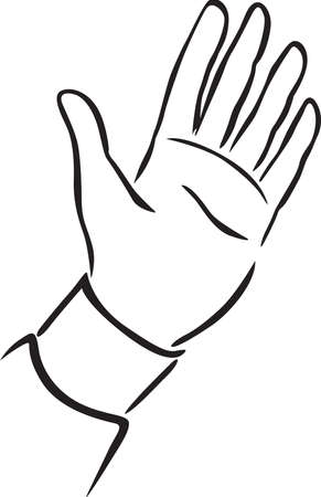 One Hand Up - Black and White Vector Sketch Illustration Isolated on White Background