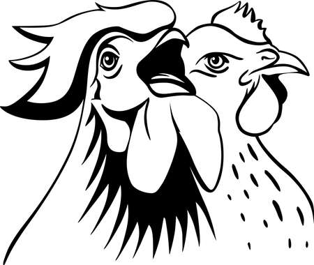 Hen and Rooster Cock Illustration of Farm Bird Animal - Black and White Poultry Art Sketch Logo Simple Symbol