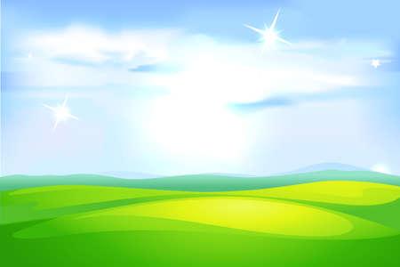 Blue Sky Glittering and Green Field Meadow