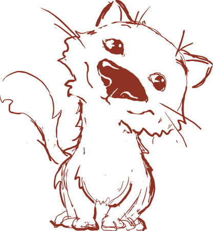 Very Cute Cat Sketch Drawing by Hand - Vector Illustration Illustration