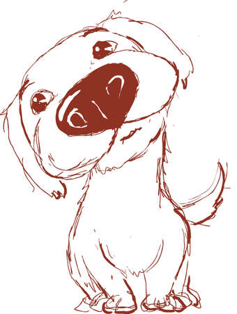 Very Cute Dog Sketch Drawing by Hand - Vector Illustration