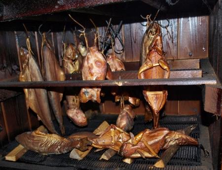 bloat: traditional fish smoking , south Bohemia   Czech Republic Stock Photo