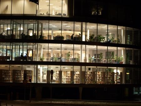 lit library building , south Bohemia   Czech Republic