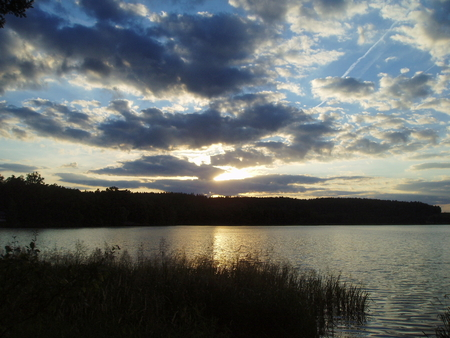 sunset over the pond, South Bohemia, Czech Republic photo