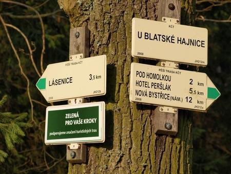tourist signposting , southern Bohemia   Czech Republic Stock Photo - 27294031