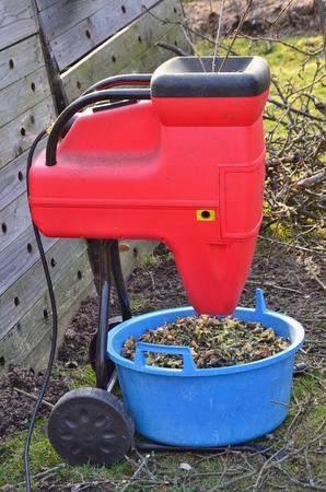 garden waste: shredding branches and garden waste, South Bohemia, Czech Republic Stock Photo