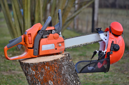 woodcutter: equipment woodcutter, South Bohemia, Czech Republic Stock Photo