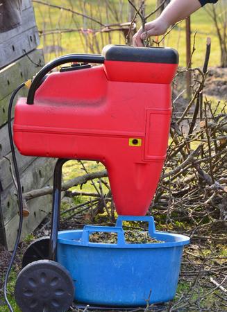 shredding: shredding branches and garden waste in South Bohemia Czech Republic Stock Photo