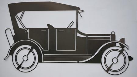metal sheet: outline old car made of sheet metal, Czech Republic