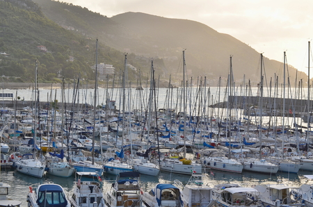 finale: The Marina in Finale Ligure in the province of Imperia in Liguria, italy Stock Photo