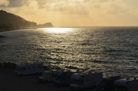 finale: view of the sunrise, the Ligurian Riviera, Finale Ligure, Italy