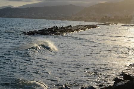 di: view of the sea level, Riviera di Ponente, Liguria, Italy