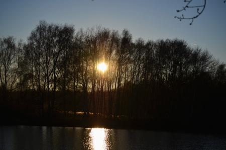 bohemia: winter sunset , southern Bohemia . Czech Republic