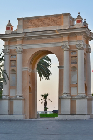 finale: The arch dedicated to Margherita Teresa of Spain, daughter of Philip IV of Spain, Finale Ligure, Italy Stock Photo