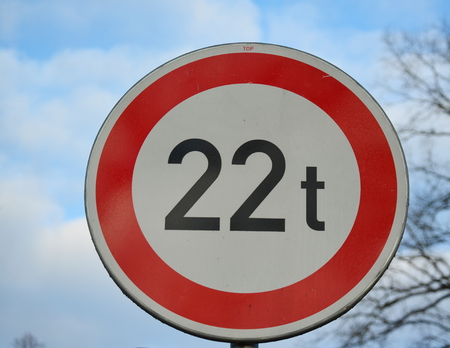 tons: traffic sign, no entry for vehicles heavier 22 tons, South Bohemia, Czech Republic