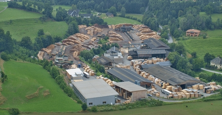 machined: wood processing company in the village of Sankt Sebastian, Austria Stock Photo