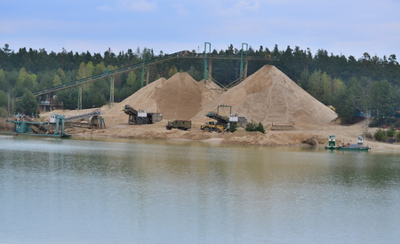 sand quarry: mining of sand, sand quarry Cep II, South Bohemia, Czech Republic Stock Photo