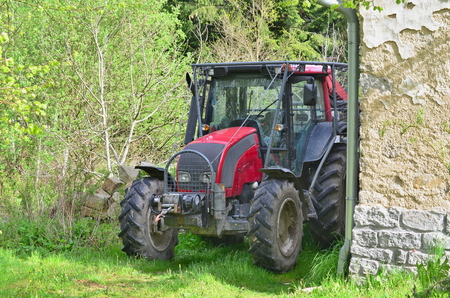 adapted: tractor adapted to work in the woods, south Bohemia, Czech Republic Stock Photo