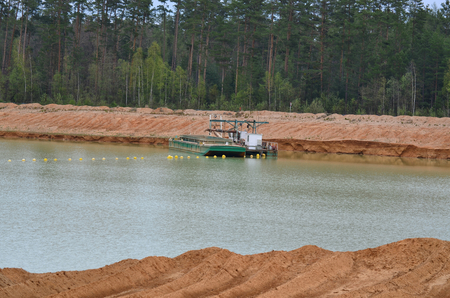 sand quarry: sand extraction, suction boat in the sand quarry II Cep, South Bohemia, Czech Republic