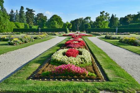moravia: beautiful chateau garden, castle Lednice - Historical Lednice - Valtice area Czech Republic