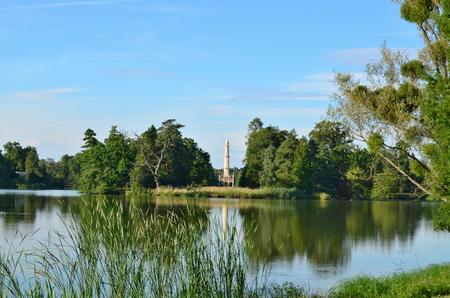 republik: Beautiful historic landmark minaret, historic area Lednicko Valticka Czech Republic